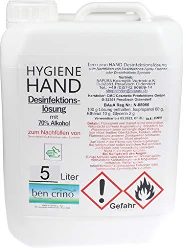 Desinfektionsmittel 5 Liter Kanister   ben crino Handdesinfektion   Hygiene Desinfektion   Flächen, Haut und Hände