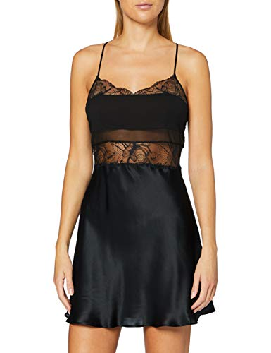 Calvin Klein Women's Chemise Pajama Top, Black, M