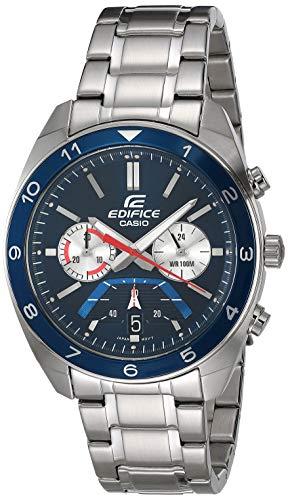 Casio Edifice - Reloj de cuarzo para hombre con correa de acero inoxidable, color plateado, 21,7 (Modelo: EFV-590D-2AVCR)