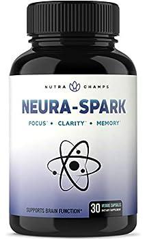 NeuraSpark Premium Brain Supplement for Focus Memory Energy Clarity - Nootropic Brain Booster for Mental Performance - Ginkgo Biloba St John s Wort DMAE Rhodiola & More - 30 Capsules