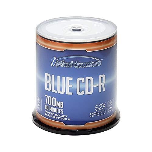 Optical Quantum Blue AZO CD-R 700MB 52X White Inkjet Hub Printable Recordable Media Disc - 100pk Spindle OQCD52BWIPH-BX