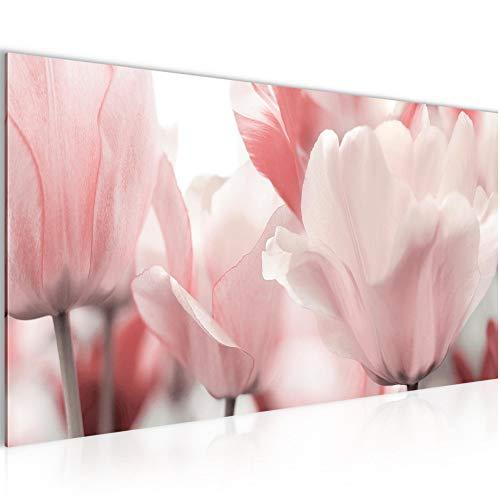 Bilder Blumen Tulpen Wandbild 100 x 40 cm Vlies - Leinwand Bild XXL Format Wandbilder Wohnzimmer Wohnung Deko Kunstdrucke Pink 1 Teilig -...