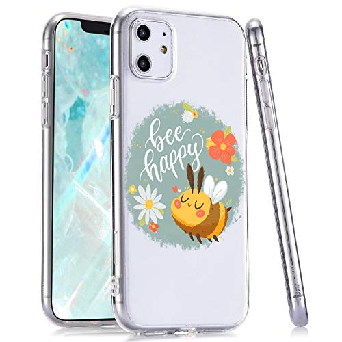 LuGeKe Bee Flower Phone Case for iPhoneXR,Cartoon Patterned Bee Design Case Cover,Soft TPU Cover Flexible Ultra Slim Anti-Stratch Bumper Protective Cute Girly Phonecase(Bee Happy)