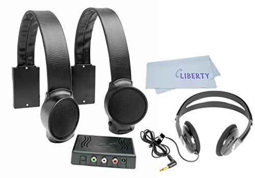 Audio Fox Wireless TV Speakers Value Bundle with Stereo Headphones and Liberty Cleaning Cloth (Black)
