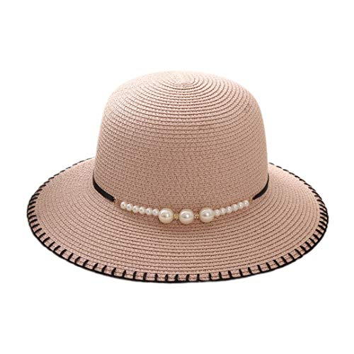 Multifit Women's Floppy Foldable Straw Sunhat Summer Beach Packable Bucket Hat Cap with Bead Decoration for Travel(Bare Pink 2)