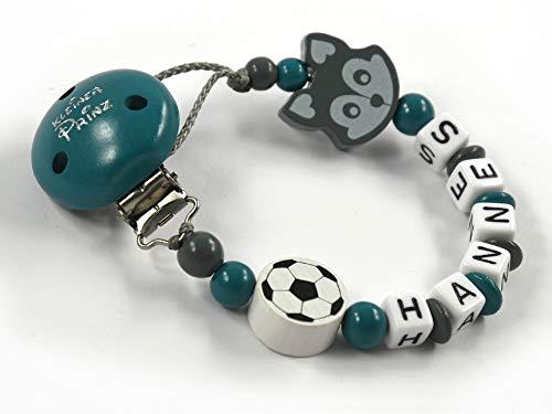 Schnullerkette mit Namen Jungen Fuchs Fußball - Kleiner Prinz - handmade - petrol grau weiß - Silikonring möglich (Petrol)