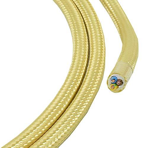 1,20m Textilkabel hell gold champagnerfarben 3-adrig 0,75mm² Stoffkabel für Pendel- und Hängeleuchten Stromkabel mit Stoff Lampenkabel