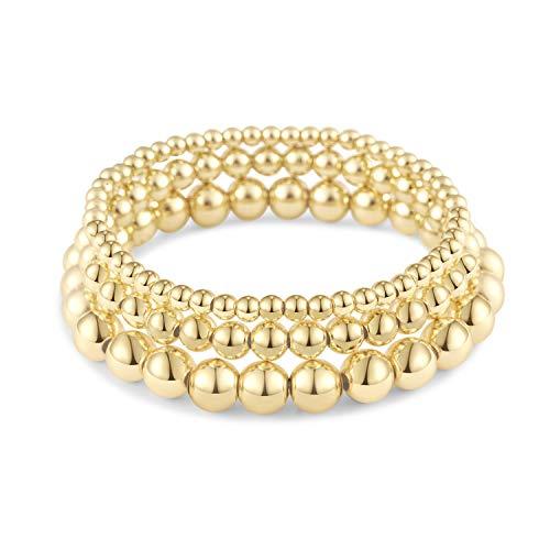 Gold Bead Bracelet Set for Women Stack | Gold Beaded Ball Bracelet Set Stretch (3pcs)
