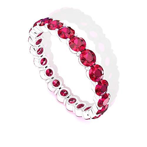 Anillo de eternidad de rubí redondo minimalista, declaración de julio de piedras preciosas, anillo de aniversario apilable, anillo de promesa para mujeres, 14K Oro blanco, Size:EU 55