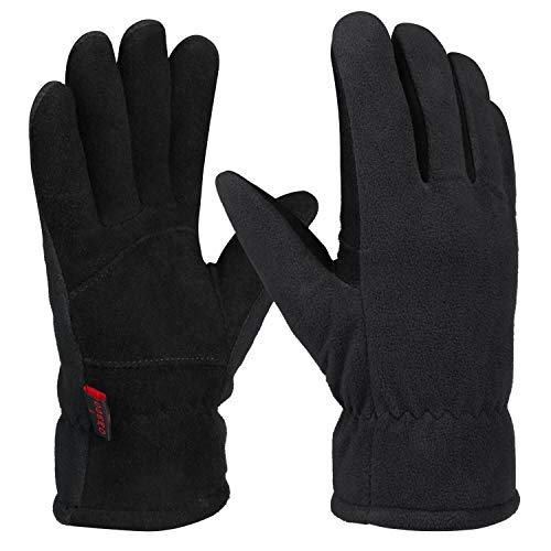 OZERO Winter Gloves for Men and Women,Warm Deerskin Leather Gloves for Cold Weather