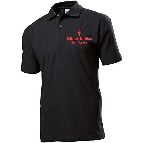 Polo-Shirt Polohemd Arbeitshemd Arbeitspolo Bestickt mit Name | Wunschtext | Döner Imbiss | ideal für Arbeit Firma (L, Schwarz)