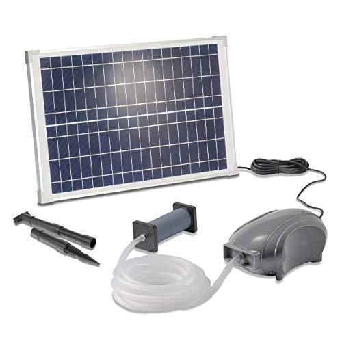 Solar Teichbelüfter PowerStone Professional - 25W Solarmodul 500 l/h Luft - extragroßes Solarmodul für beste Funktion - massiver Ausströmer plus 5m Schlauch - Teich Belüftung, esotec 101897