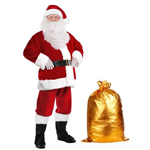 Santa Suit Men's Deluxe Christmas Santa Claus Costume Complete Velvet Adults Santa Costume Set