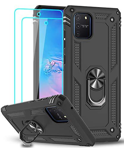 LeYi für Samsung Galaxy S10 Lite/A91 Hülle mit Panzerglas Schutzfolie(2 Stück),360 Grad Ring Halter Handy Hüllen Cover Bumper Schutzhülle für Hülle Samsung Galaxy A91 Handyhülle Schwarz