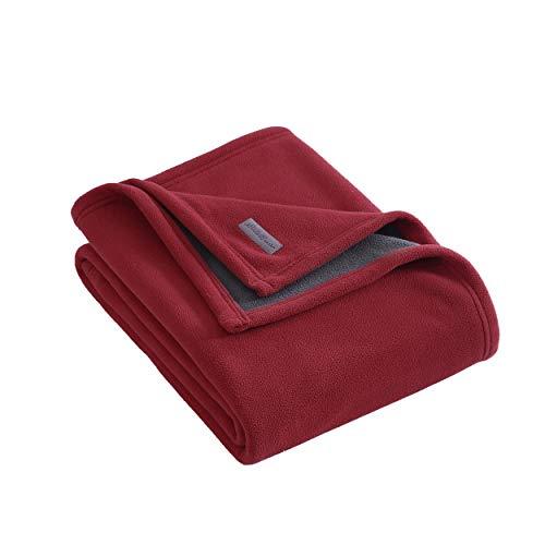 Eddie Bauer   Cozy Fleece Collection   Überwurf, Decke, wendbar, Sherpa-Stoff, Ultra Plüsch und Luxuriös warm, maschinenwaschbar, Rot/Dunkles Rauchgrau