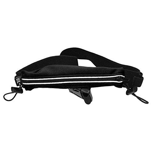 SPIbelt Endurance Race Belt with Race Bib Toggles and Reflective Trim (Black, One Size)
