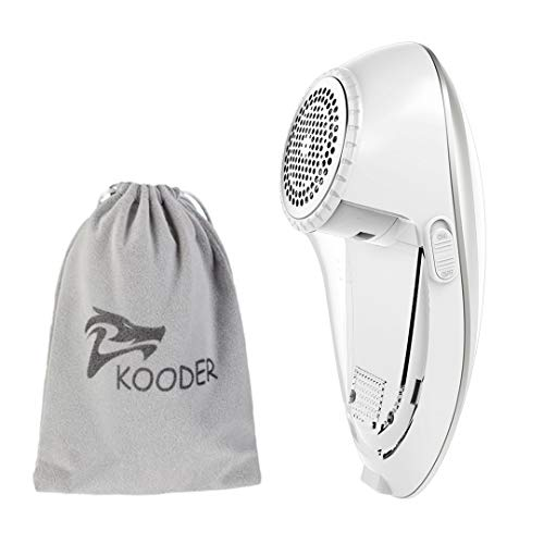 KOODER Sweater Shaver, USB Rechargeable Fabric Shaver, Lint Remover. Double Battery Lasting and Effective Lint Shaver (Silver White)