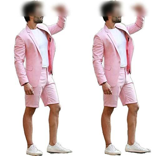 who-care Formal Rosa De La Boda De Los Hombres Traje Con Pantalones Cortos De Negocios Terno Masculino Playa Para Hombre De Verano Playa Novio Desgaste De Trajes