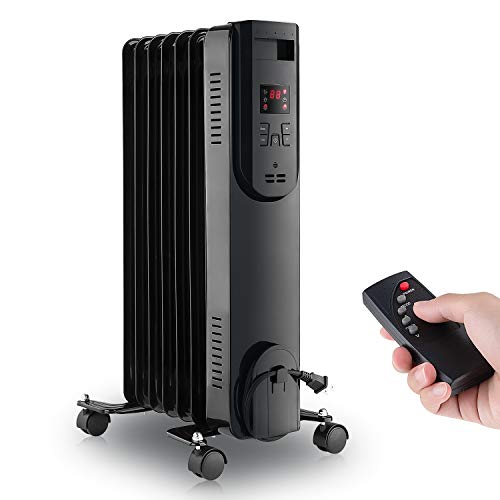LIFEPLUS Oil Filled Radiator Heater 1500W - Portable Electric Oil Space Heater for Indoor Use - Super Quiet Remote Control 12H Timer LED Display, 3 Heat Modes with Thermostat Energy Saving, for Bedroom Home Office Use, Sleek Black