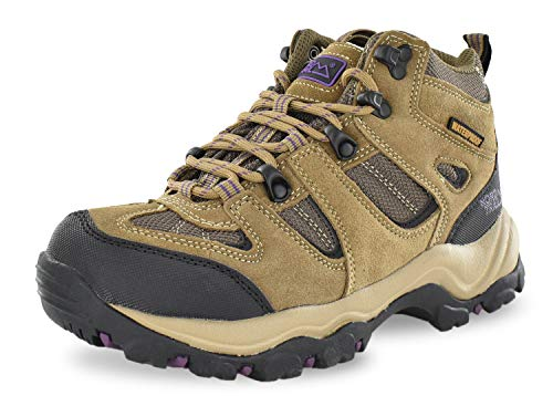 Nord Trail Mt. Washington HI Women's Hiking Shoes, Waterproof Trail Running Shoes, Breathable, Lightweight, High-Traction Grip (Taupe/Plum, 7)