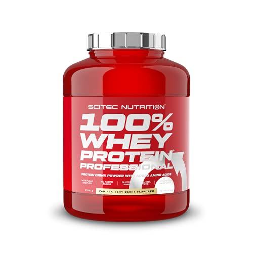Scitec Nutrition 100% Whey Protein Professional con aminoácidos clave y enzimas digestivas adicionales, sin gluten, 2.35 kg, Vainilla con frutas del bosque