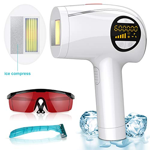 Laser Hair Removal for Women and Men,600,000 Flashes Permanent Hair Removal with Ice Mode, Super Heat Dissipation IPL Hair Remover for Removing Facial Hair, Legs, Bikini Area and Underarms
