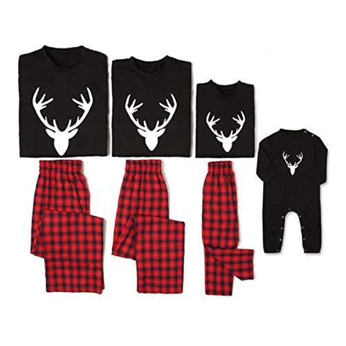Relubby Kerst Ouder-Kind Suits, Antlers Lang-Sleeved Jas Plaid Broek Katoen Pyjama Kamer Draag Housecoat Vakantie Slaapmode Kinderkleding Bodysuits Nachtjapon