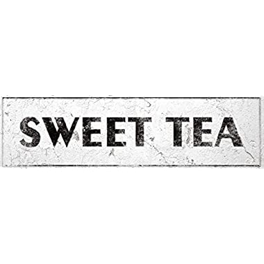 iCandy Combat Sweet Tea Sign Rustic Farmhouse Country Kitchen with Vintage Shabby Chic On 5x18 Aluminum