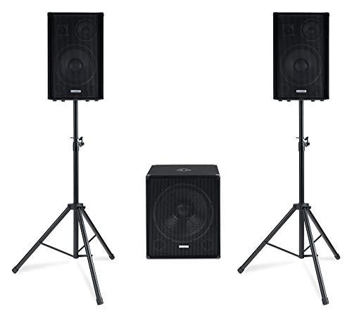 """McGrey Powerstage 1812 2.1 PA Komplett-Anlage - 4-Wege System - 750 W RMS - 1x aktiver 18\"""" Subwoofer - 2x 12\"""" Topteil - Bluetooth-Empfänger - MP3-Player mit USB/SD - Inkl. Stative, Kabel und Tasche"""