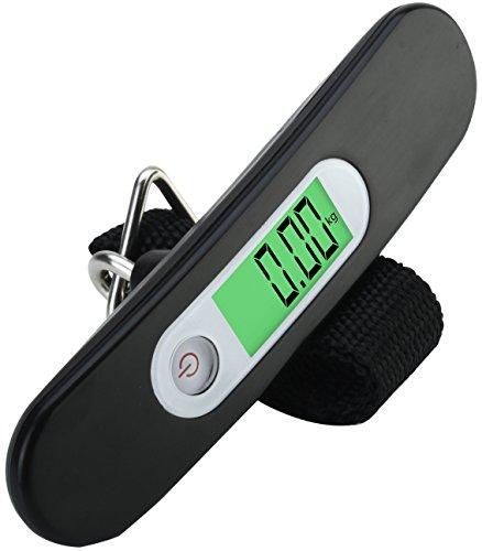 Bilancia Pesa-Valigia LS2 NERO – Bilancia Digitale Portatile LCD ad Alta Precisione per Valigie, per Esterni, per la Pesca, per la Casa, per la Cucina – con Cinghia - Capacità 110 lb / 50kg