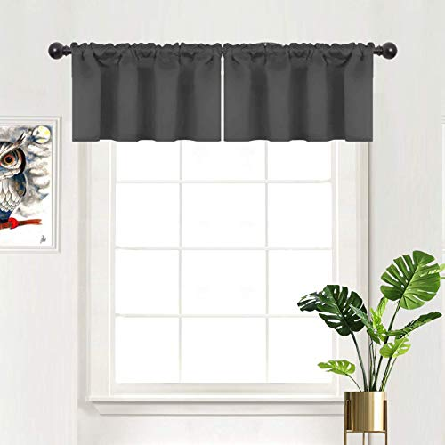 """Caudblor Blackout Valances for Kitchen Living Room Bedroom Window Curtain Toppers Solid Short Rod Pocket Valance, 42"""" x 18"""", Gray, 2 Panels"""