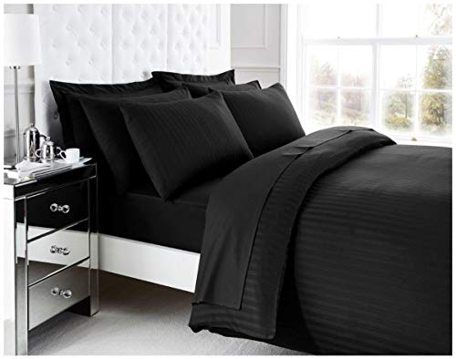 Gaveno Cavailia Hotel Quality Duvet Cover with Matching Pillowcases, Easy Care Quilt Bedding Set, Premium 200 TC Egyptian Cotton Bed Linen, Black, Single Size