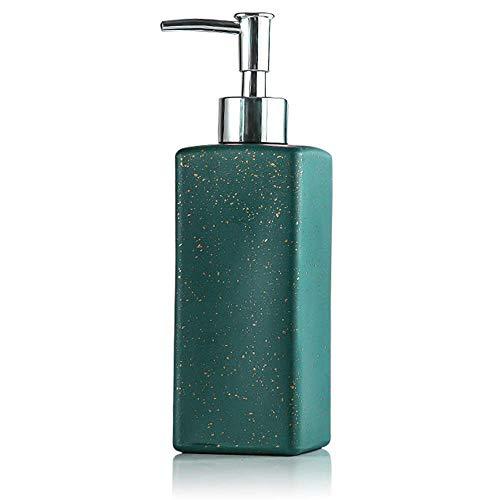 Dispensación de jabón, bomba de loción, conjunto de bomba de jabón de baño, dispensador de jabón de mano y plato, botella de bomba de vidrio premium de 350 ml cuadradas para el baño de vanidad de baño