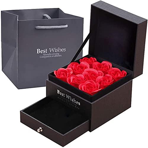 Rosa Real Preservada Eterna Hecha a Mano Rosa Preservada, Rosas Artificiales Bien Conservadas con Caja Obsequio, Rosa Hecha a Mano para el Día de San Valentín Aniversario