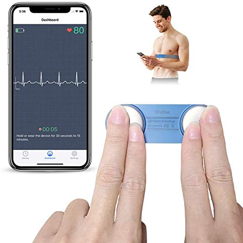 Wellue Heart Monitor, Wearable Chest Strap Bluetooth Heart Health Tracker w Free App for iOS & Android Phone, Portable Handheld 30s - 15mins Recording Heart Monitoring Device for Fitness Use