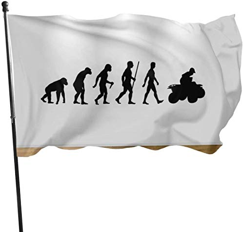 Viplili Flagge/Fahne, Evolution ATV Quad Bike Fly Breeze 3x5 Ft. Polyester, Fade-Resistant and Durable Decorative Banner with Head and Brass Grommets for Easy Removal