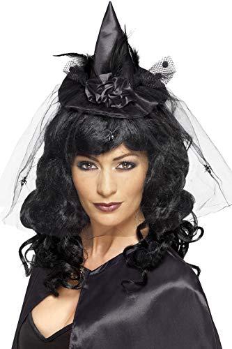 Smiffys Damen Mini Hexen Hut mit Netzdetail, One Size, Schwarz, 21989