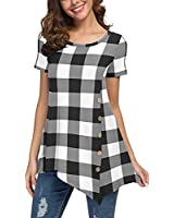 VIISHOW Flowy Tunic Shirts Floral Printed Short Sleeve Scoop Neck Loose Fit Casual Top(Hei Bai Ge,Small)