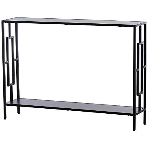 HOMCOM Console Table d'appoint Design Industriel dim. 106L x 23l x 76H cm étagère Acier Noir Panneaux Particules Bois Gris