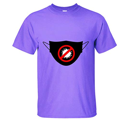 LXHcool COV_ID-19 con T-Shirt Mask Buffo Coron_avirus Unisex Tee (Color : Purple, Size : XXL)
