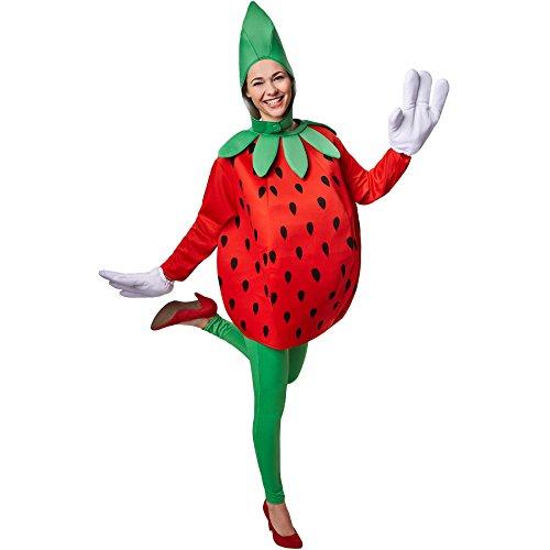 TecTake dressforfun Kostüm Erdbeere Erdbeerenkostüm   Süßes Langarm-Oberteil   Große, lustige Handschuhe   Inkl. witziger Kopfbedeckung (XL   Nr. 301642)