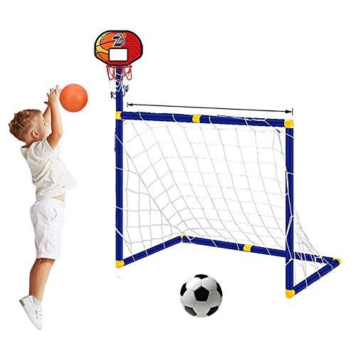 FXQIN Portería de fútbol de aro de Baloncesto 2 en 1 Soccer Goal Soporte de Baloncesto para niños Basketball Hoop Juego de Objetivos de Entrenamiento Deportivo Interior al Aire Libre