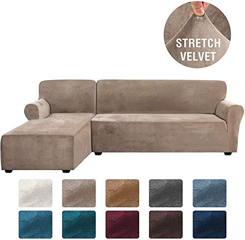 LINGKY Rich Velvet Stretch 2 Stück L-förmige Sofabezüge Anti-Rutsch-Schnittsofa Schonbezüge mit Riemen unten Dicker Samt Eck Sofa Bezug (Taupe,X-Large)