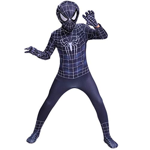 YUNMO Costume Spider-Man Noir Costume Spiderman - Costume Unisexe, Seconde Peau, Halloween (Taille : 120)