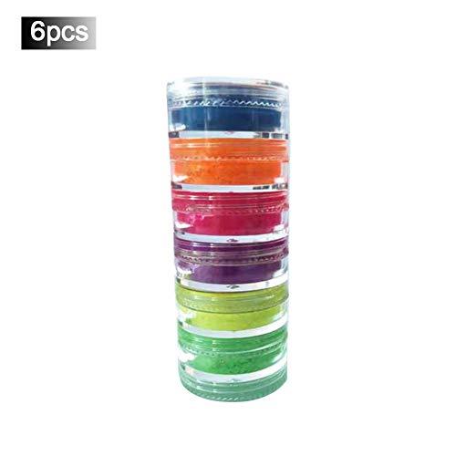 6 Verschiedene Farben Halloween Fluoreszierende Leuchtende Nagel Glitter Puder Lidschatten Neon Puder Passend Für Maskerade Nachtclub Party