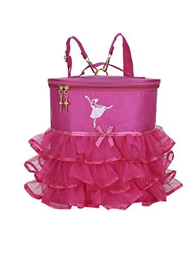 KRUIHAN Niños Niña Bolsa de Baile Ballet Portátil Bolso Bailarina Bailando Mochila Bordado Moda Pequeña Princesa Mochila Deportiva Rosa Roja