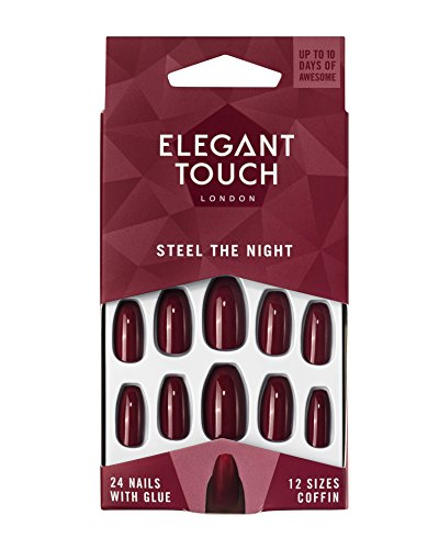 Elegant Touch Colour False Nails, Steel the Night, Oval Shape (previously known as After Dark), 24 Nails with Glue included