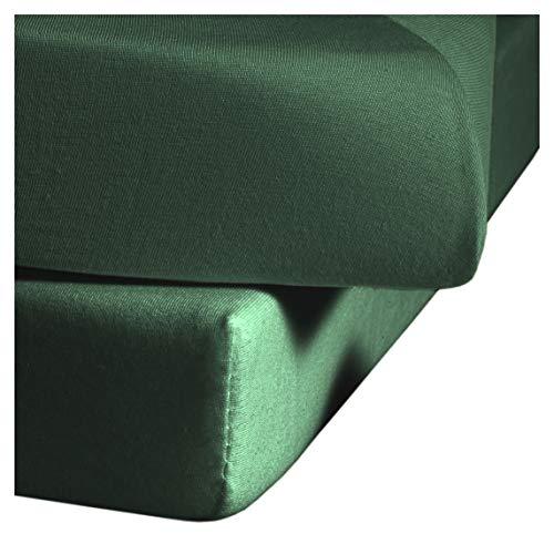 Fleuresse Comfort - Sábana bajera ajustable, verde caza, 180/200