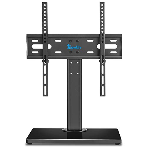Rentliv Wooden Base Universal TV Stand- Table Top TV Base Stand for 37 to 55 inch TVs - Height Adjustable TV Mount Stand ,VESA 400 x 400mm