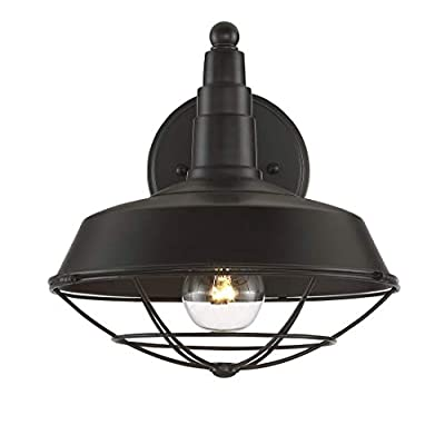 Trade Winds Lighting TW020422ORB 1-Light Vintage Industrial Sconce in Oil Rubbed Bronze